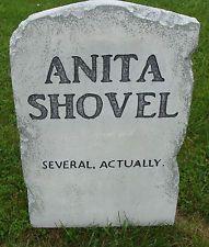 "Halloween 'Anita Shovel' tombstone prop decoration 24""x16""x2"""