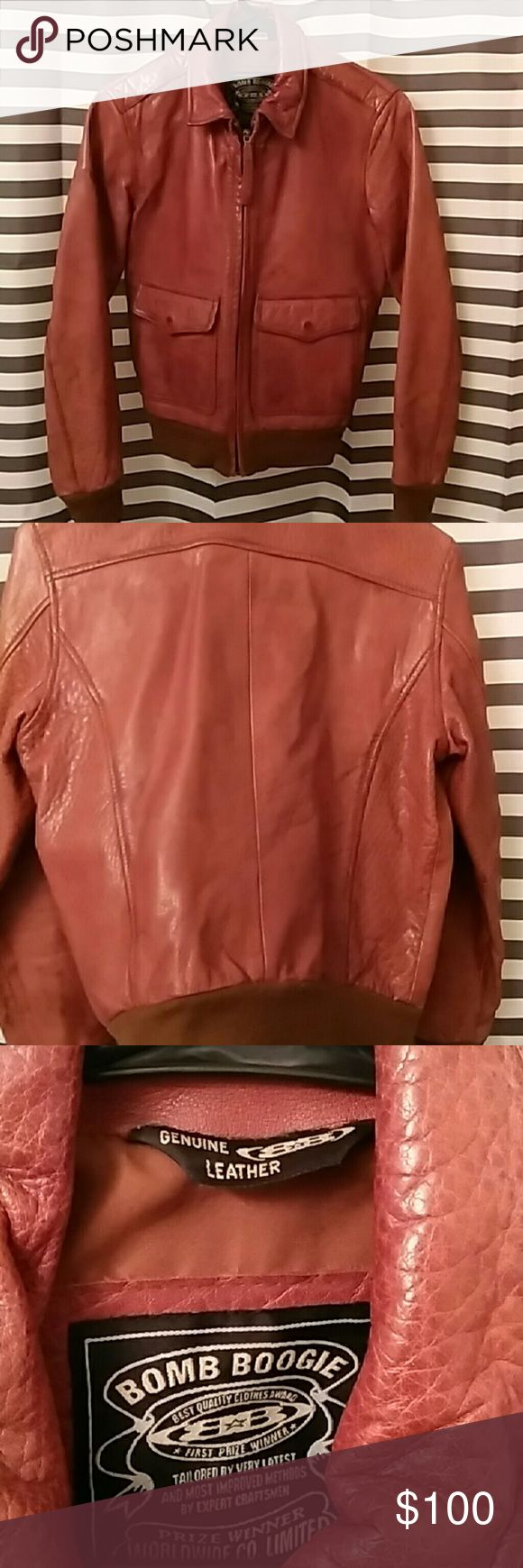 Brown leather bomber jacket See pics Jackets & Coats