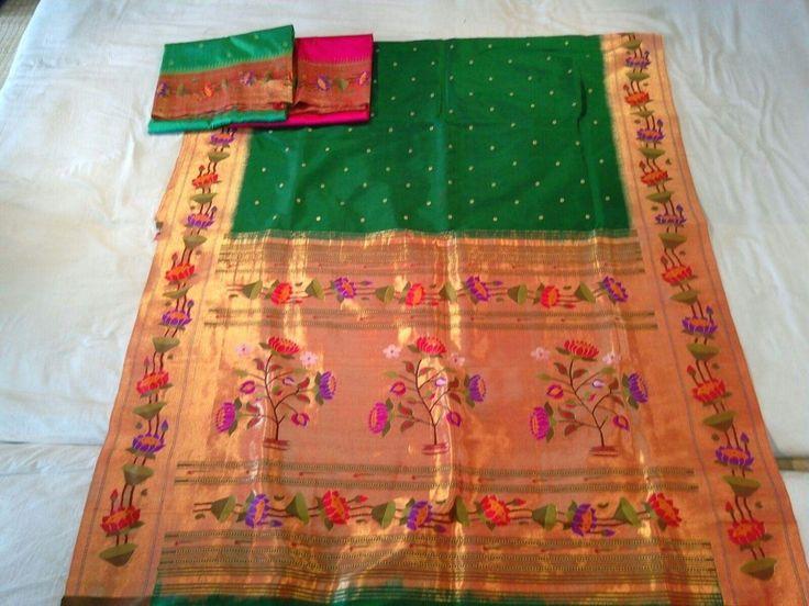 Dark Green Pure Handloom Paithani Silk Saree