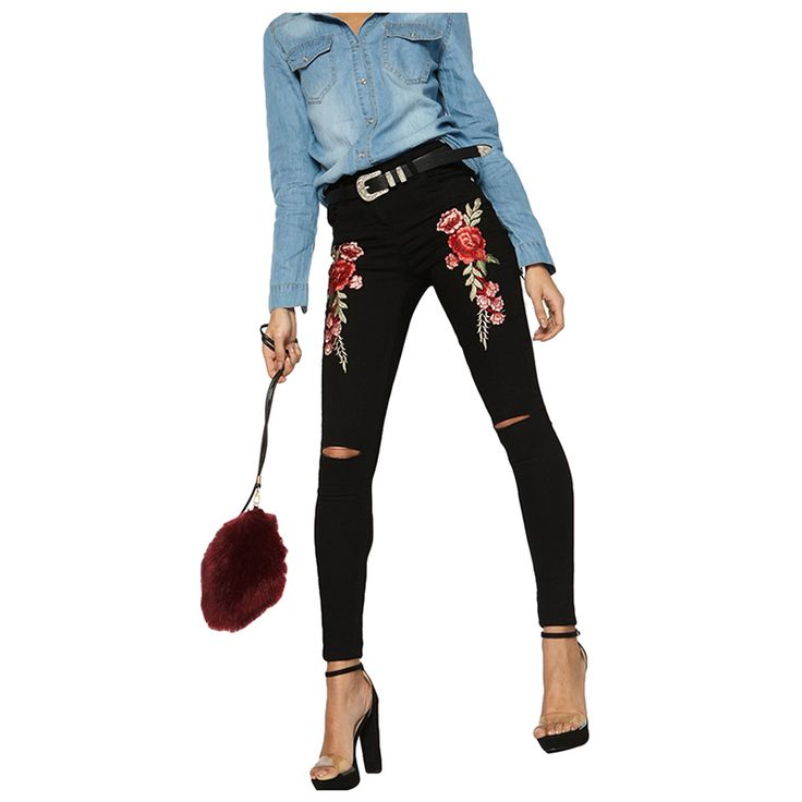 Your business will Original Price US $17.09 Sale Price US $14.70 LICG Rose Embroidery Knee Cut Denim Jeans Hot Sale Woman Denim Butt Lifting Skinny Jeans Mid Waistline Ripped Pencil Pants if you dont read this article! #jeans_sexy