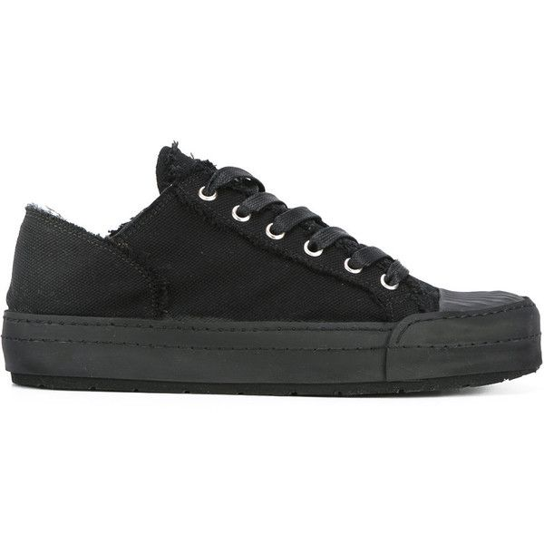 mm6 Maison Margiela Canvas Sneakers ($220) ❤ liked on Polyvore featuring shoes, sneakers, black, black canvas shoes, canvas sneakers, black lace up shoes, canvas lace up shoes and lacing sneakers