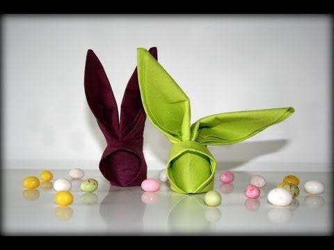 Pour les fêtes de Pâques, pliez vos serviettes de table en charmants petits lapin ! C'est un pliage très facile à réaliser. Il se fait facilement avec des serviettes en papier. Si vous utilisez des serviettes en tissu, il se peut que l'assemblage à l'arrière du modèle se défasse tout seul, surtout si la serviette n'est pas amidonnée. Vous pouvez...