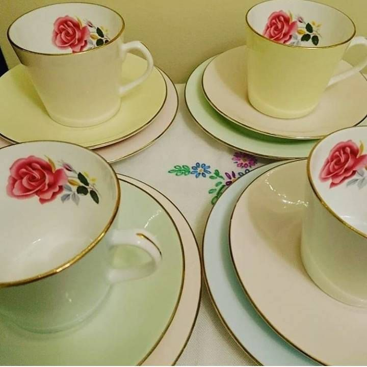 Excited to share the latest addition to my #etsy shop: Sweet Easter spring mixed pastel vintage teaset - 4 cups, saucers, side plates - roses inside - candy colours - pink blue green yellow cream http://etsy.me/2Crj4hS