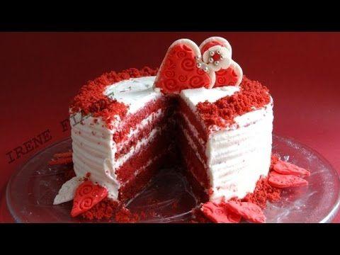 Как приготовить торт Красный Бархат со сливочно- сырным кремом к празднику Влюблённых. Рецепт. Как украсить торт мастикой ко Дню Святого Валентина.Как пригот...