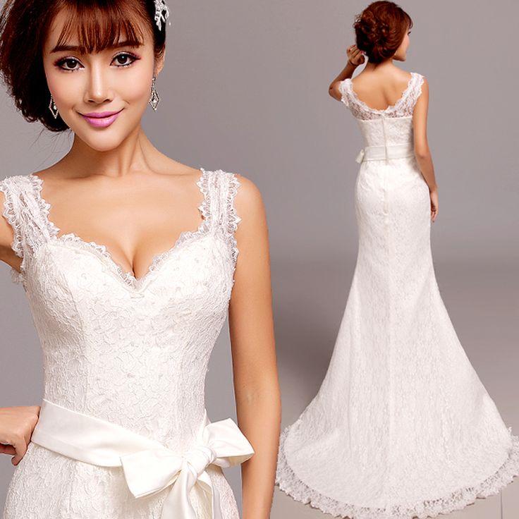 Princess Y Mermaid Wedding Dresses 2016 Plus Size V Neck Lace Dress Belt 963