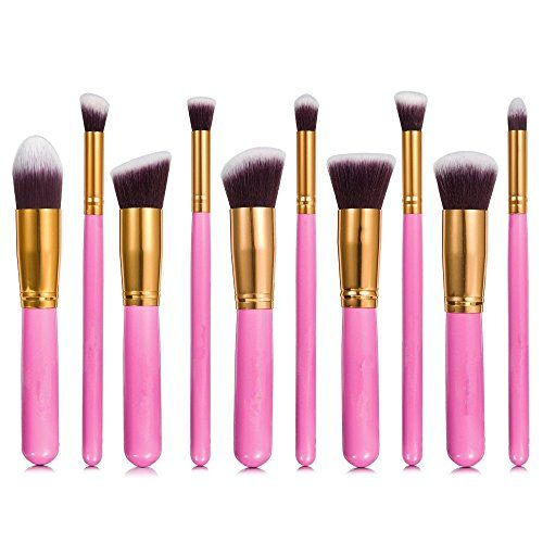 eBoTrade 10pcs Pink Gloden Professional Cosmetic Makeup Brushes Set Set Liquid or Powder Foundation 10 Pieces >>> You can get additional details at the image link. (Note:Amazon affiliate link)