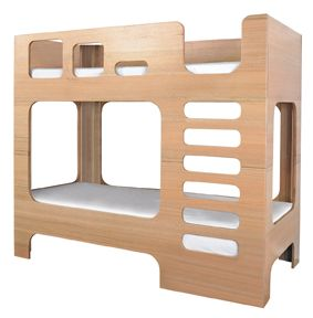 mod bunk bed with rounded corner openings and plywood sides