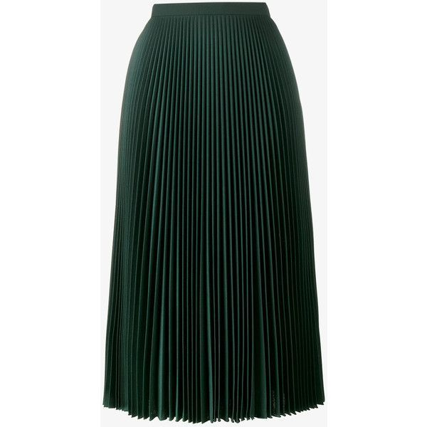 Prada Pleated Midi Skirt ($1,910) ❤ liked on Polyvore featuring skirts, bottoms, green, pleated skirt, prada, prada skirt, knee length pleated skirt and pleated a line skirt