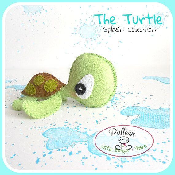 A tartaruga de PDF padrão-Sea animais brinquedo-DIY-berçário decoração de imediato download-Bebê da tartaruga de mar tartaruga Felt-toy-toy bonito móvel da