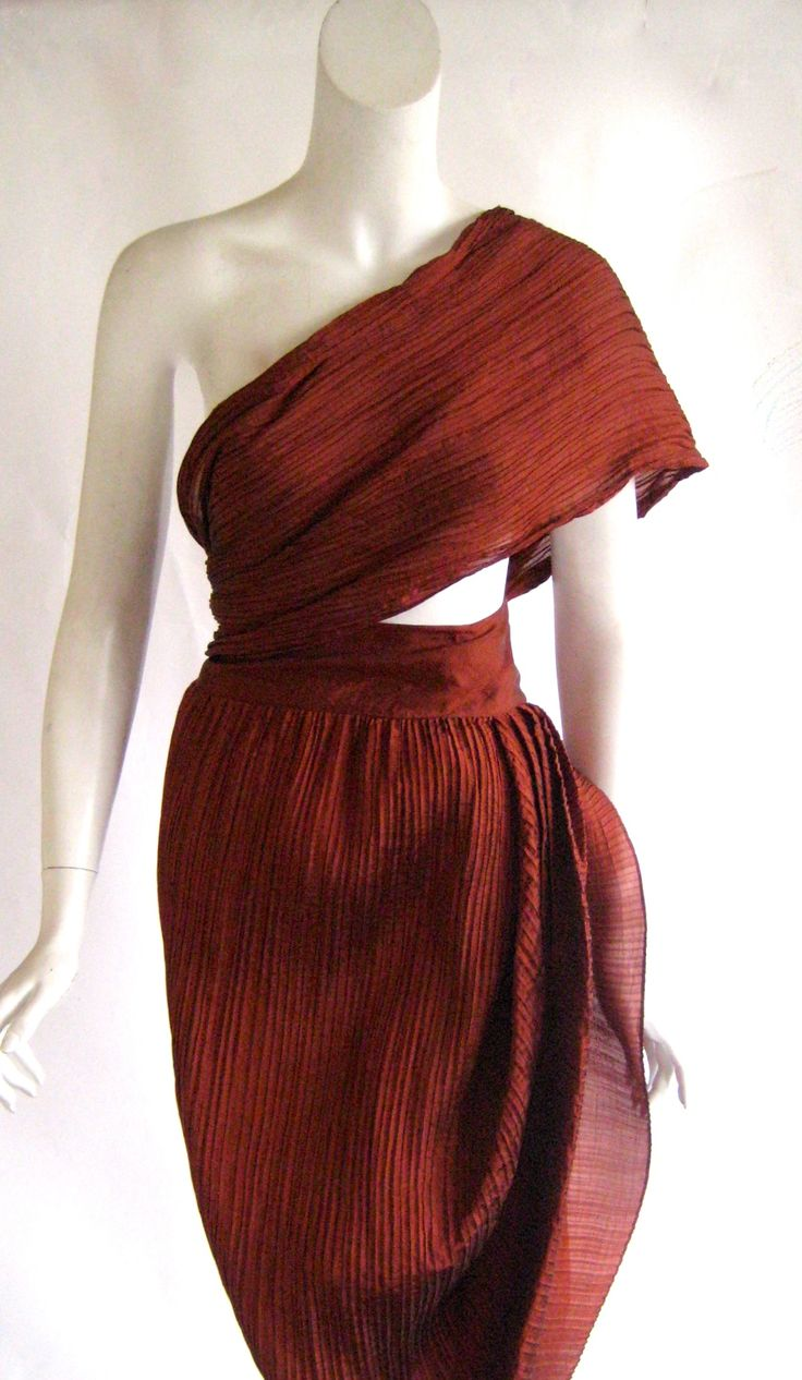 1990s Romeo Gigli Pleated Silk Wrap Dress | From a collection of rare vintage evening dresses at https://www.1stdibs.com/fashion/clothing/evening-dresses/