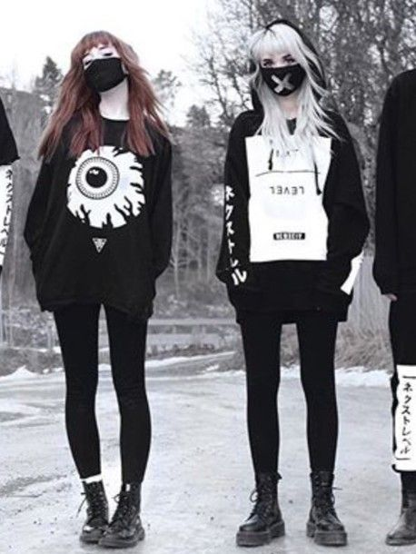 sweater goth japanese streets black and white nu goth emo street goth all black everything dark