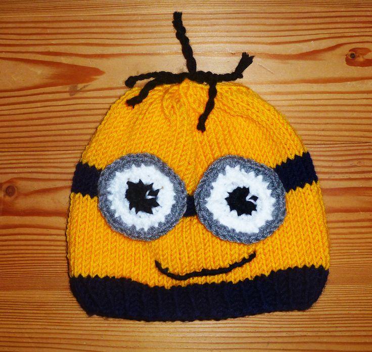 www.gluecksfrosch.de Ein lustiger Minion, wunderbar weiche gelbe Wolle, eine Mütze die Spaß macht!