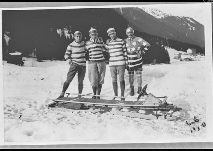 Une équipe de bobsleigh. JO Chamonix, 1924
