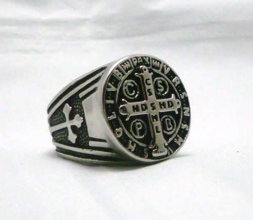 St Benedict Exorcism Ring Demon Protection Ghost Hunter Sz 7.5 by NotB4Noon. $19.95. This is a large ring with a 22mm ring face. A Beautifully detailed quality ring in stainless steel for the maximun protection from evil.The meaning of the symbols on the ring: The vertical beam of the Cross has five letters: C.S.S.M.L., meaning Crux Sacra Sit Mihi Lux (May the holy Cross be for me a light). The horizontal beam of the Cross also has five letters: N.D.S.M.D., meaning Non Draco...