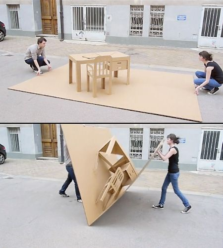 Pop-up cardboard office.  Smart!  For all of us that are now working in a flexible, agile, nomadic work-style.  Need a big bag to carry it around in though!