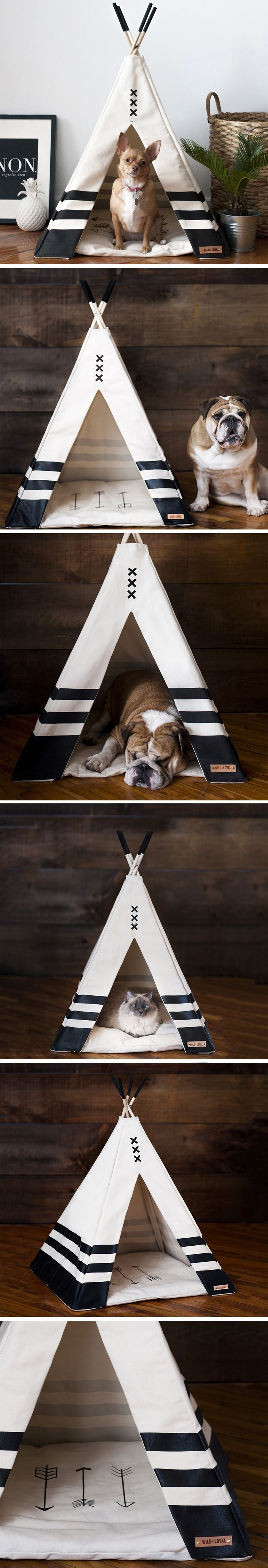The Pet Teepee is built to add character to the home-decor, while also giving your pet a comfortable, yet visually adventurous hide-out. Handmade from wooden poles and cotton canvas fabric, the tent is easy to set up anywhere and provides a cool and comfortable pet-haven.