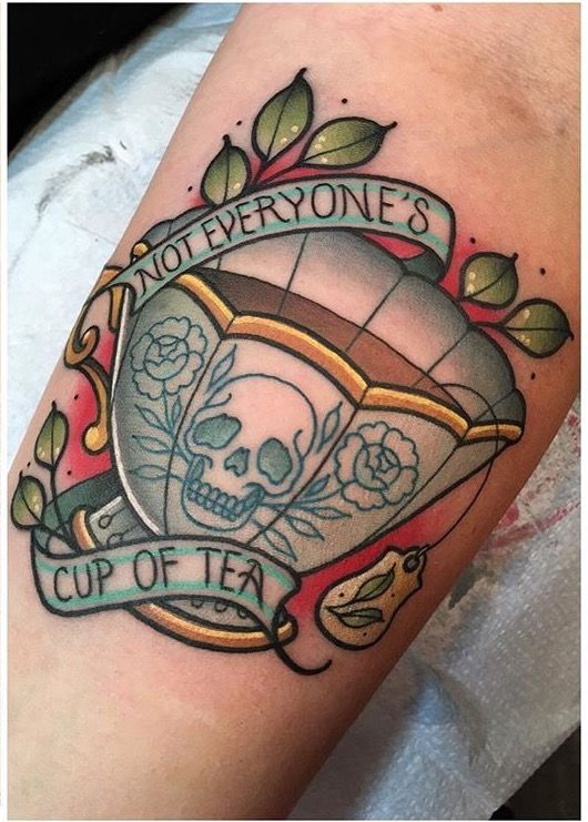 Not everyone's cup of tea tattoo skull teacup SOURCE: Jawtattoos on instagram