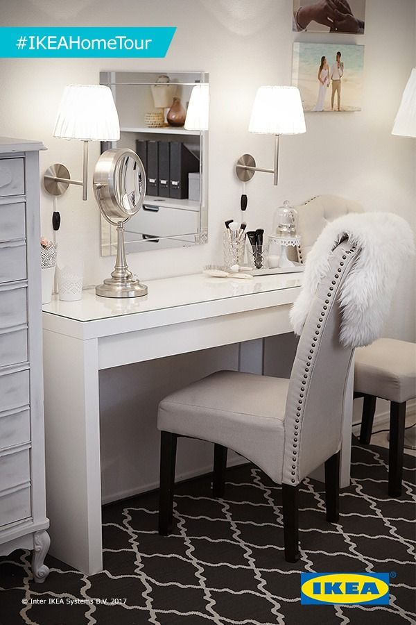 The IKEA Home Tour Squad used the MALM dressing table in this home office makeover because it's both a stylish and function vanity. There's plenty of space for make-up and jewelry in the wide, felt-lined drawer and you don't need to worry about stains, as the durable glass table top is easy to wipe clean. Complete the look with a wall or table mirror in any size and style you like.