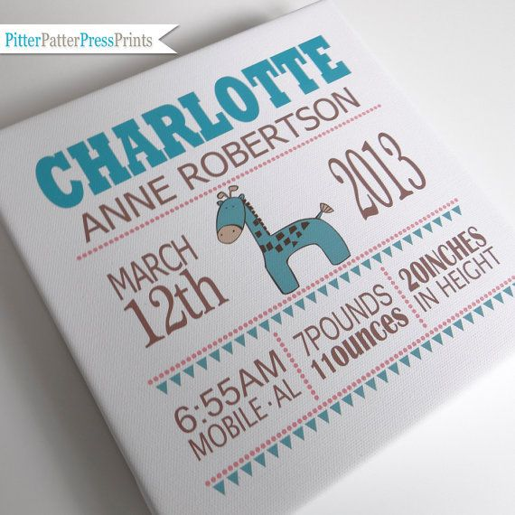 Birth Announcement Canvas for Baby // Personalized Girl's Name Art // Custom Giraffe Canvas Print // Kid's Nursery Wall Art // Square