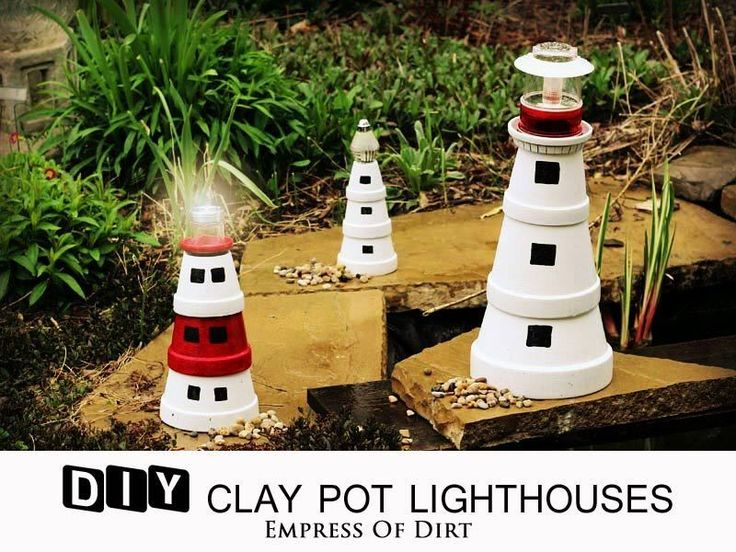 DIY Clay Pot Lighthouse |this would make a good VBS craft!