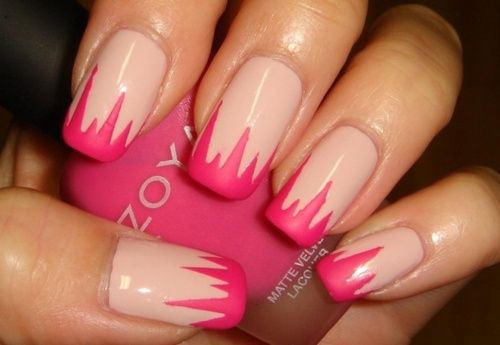 Pink matte tip on nude nails