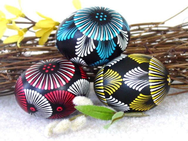 Set of 3 Decorated Chicken Eggs, Original Artwork of  Award-Winning Traditional Easter Eggs, Easter Eggs Pysanky. $49.95, via Etsy.
