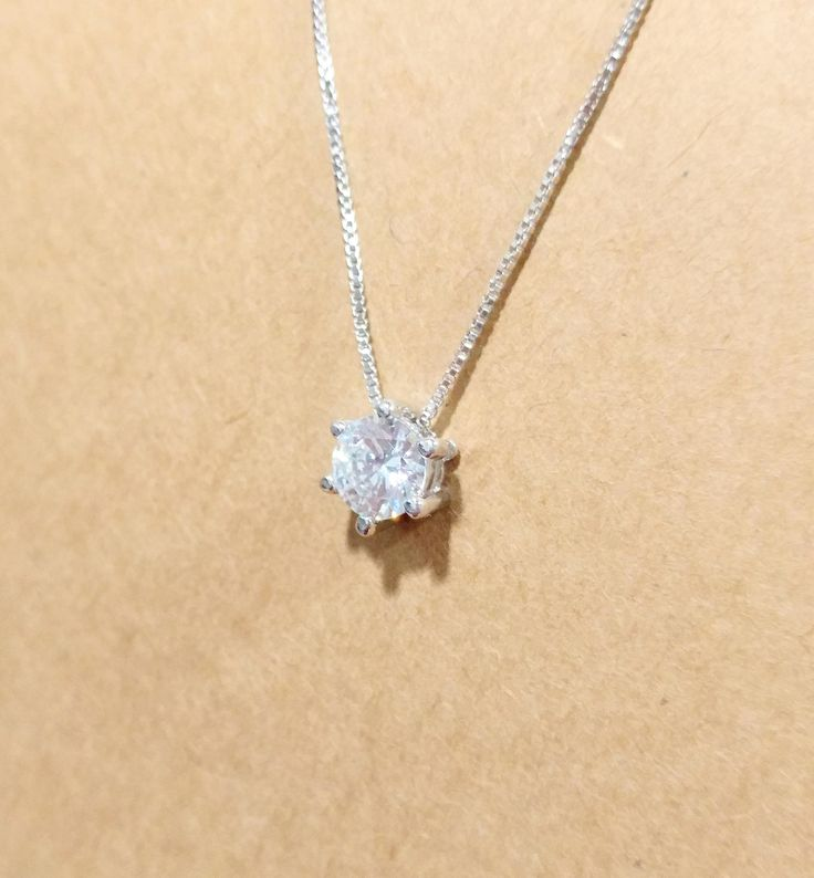 925 Sterling Silver 6 Prongs Cubic Zirconia Necklace by ThoughtsAccessories on Etsy