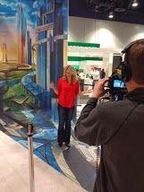 Jessica York checking out the @Wilsonart LLC optical illusion!