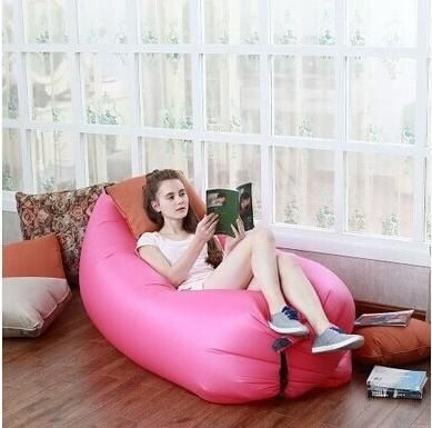 pink / ChinaBeach Portable Outdoor Inflatable Bone Furniture Sofa Hammock Sleeping Camping Air Bed Nylon Lazy bed Clean Big