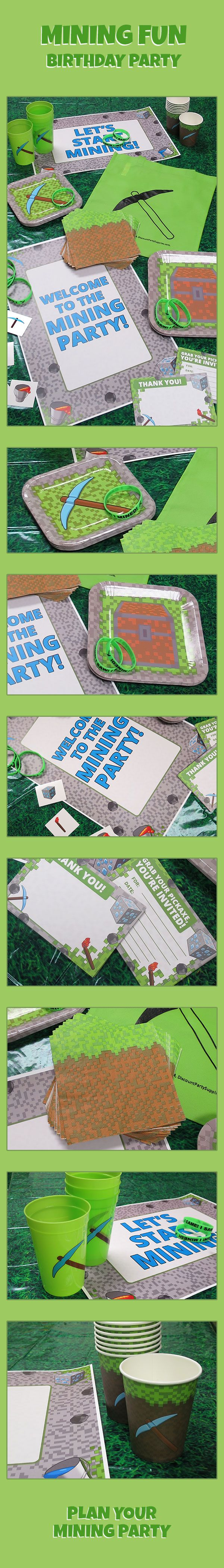 Grab your pickaxe & shovel, it's time to plan your Minecraft birthday party! It's easy with our exclusive Mining Fun party supplies. We have everything from tableware & decorations (including new TNT balloons) to invitations & favors. We also have a boat load of Minecraft party supplies! Start planning today: http://www.discountpartysupplies.com/boy-party-supplies/minecraft-party-supplies?utm_source=Pinterest&utm_medium=social&utm_content=PinterestSkyscraper&utm_campaign=MiningFunPromotedPin