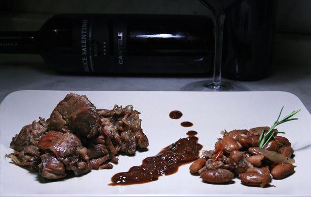 Stufato di capra con fagioli al coccio by Le Papille Clandestine. In abbinamento: Salice Salentino Riserva.