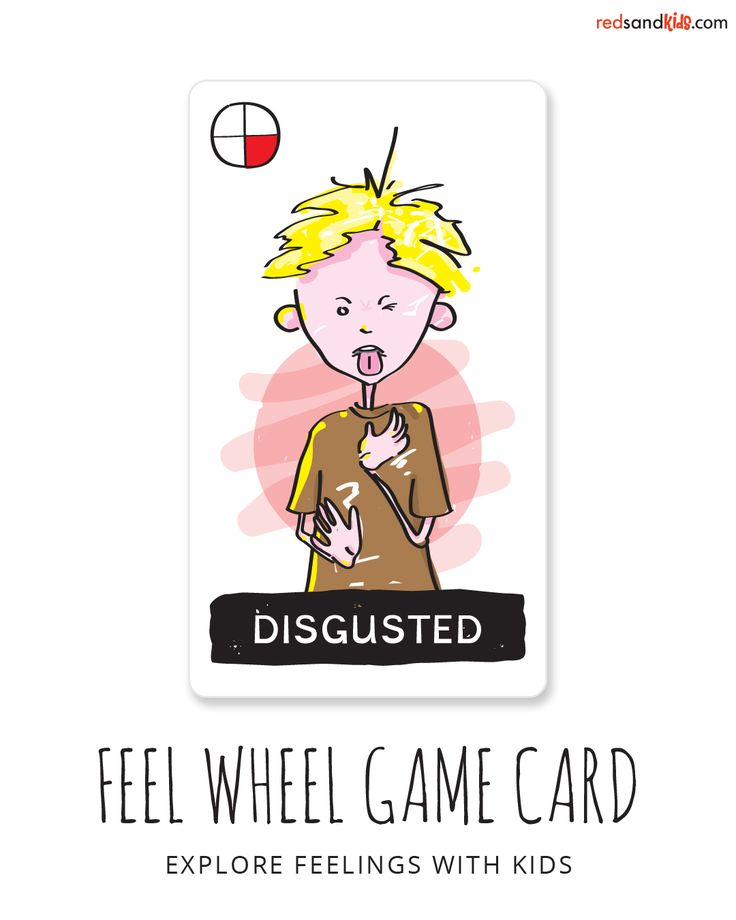 one of 20 expressive and unique feeling cards for playfully teaching kids about feelings / co-created by a teacher/child-therapist and a professional artist / available along with FREE game ideas and more at redsandkids.com/feelings