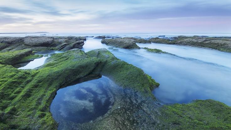 seascape - sunrise near flat rock, wildernesss