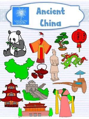 Ancient China Clip Art from Teacher s Clip Art on TeachersNotebook.com - (26 pages) - This set includes line art and colored images for: Great wall of china Dragon Map of china Lanterns Pagoda Terracotta statures Bonsai trees Tea set Panda Chinese chariot Forbidden city Chinese's tradi
