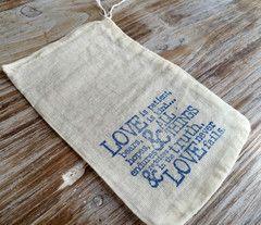 10 cotton wedding favor bags, romantic wedding favors, 1 Corinthians 13 favor…