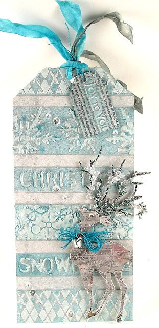 Suzz's Stamping Spot, Funkie Junkie 12 Tags, Sizzix, Tim Holtz Layering Stencils, Wendy Vecchi Embossing Paste