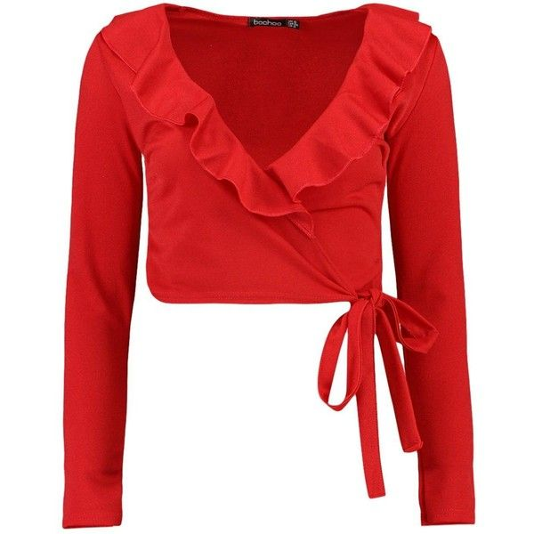 Boohoo Petite Eliza Ruffle Wrap Front Crop Top ($24) ❤ liked on Polyvore featuring tops, wrap front top, petite tops, cut-out crop tops, frilly tops and red ruffle top