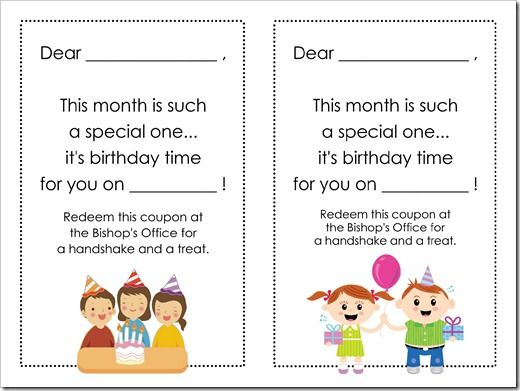 """LDS Primary Birthday """"Cards"""" - I love this idea!"""