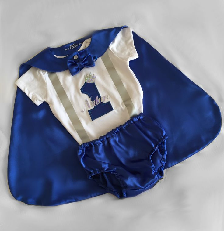 Silver & Royal Blue Little prince Personalised Baby boy 1st Birthday Outfit...Cake Smash Outfit...Baby photo shoot outfit... by BuBBlingBoutique on Etsy