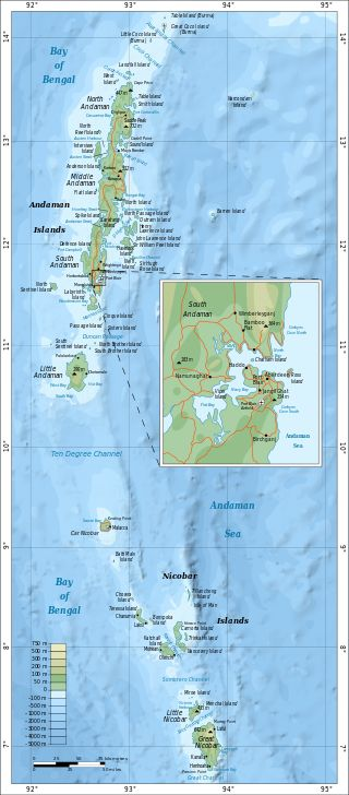 Map of Andaman and Nicobar Islands with an extra detailed area around Port Blair ◆Andaman and Nicobar Islands - Wikipedia http://en.wikipedia.org/wiki/Andaman_and_Nicobar_Islands #Andaman_and_Nicobar_Islands