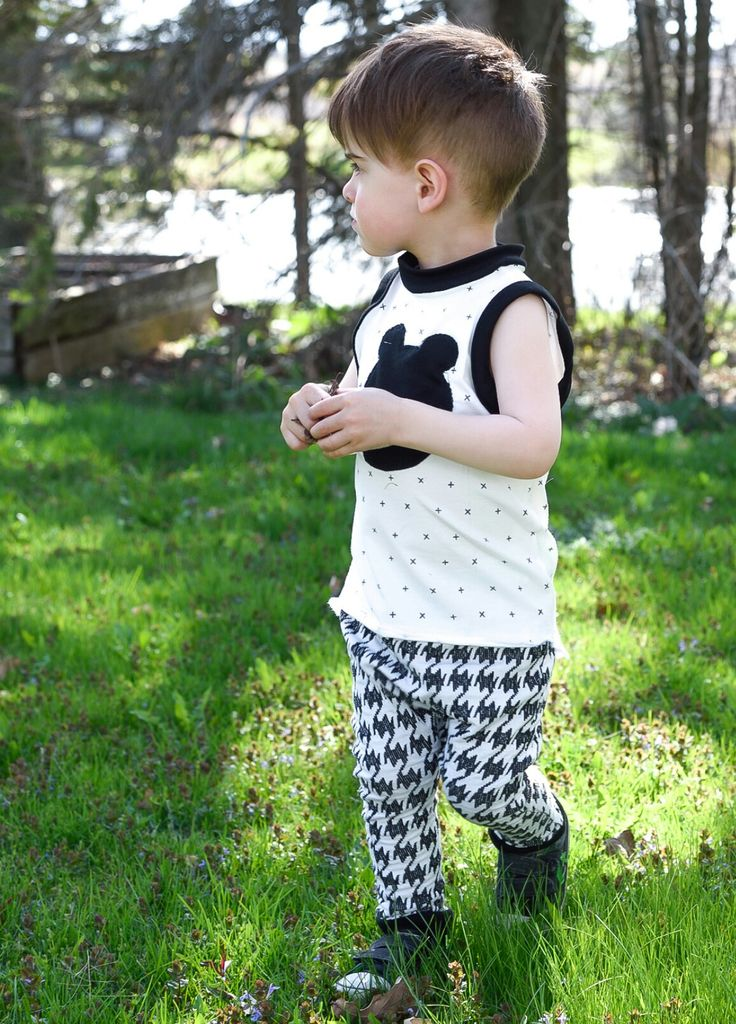 Handmade Monochrom black and white Harem and tank top with bear head baby and toddler 0-6 www.lezalie.com canadian store