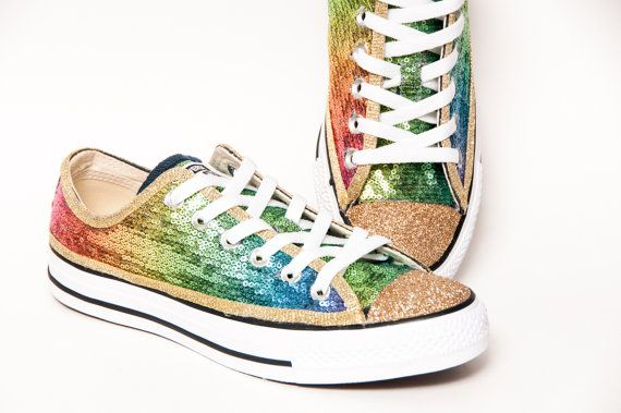 Sequin - Rainbow Gold Multi Colored Canvas Converse Sneakers Low Tops Shoes  with Gold Glitter Toes  12c0d513a1b2