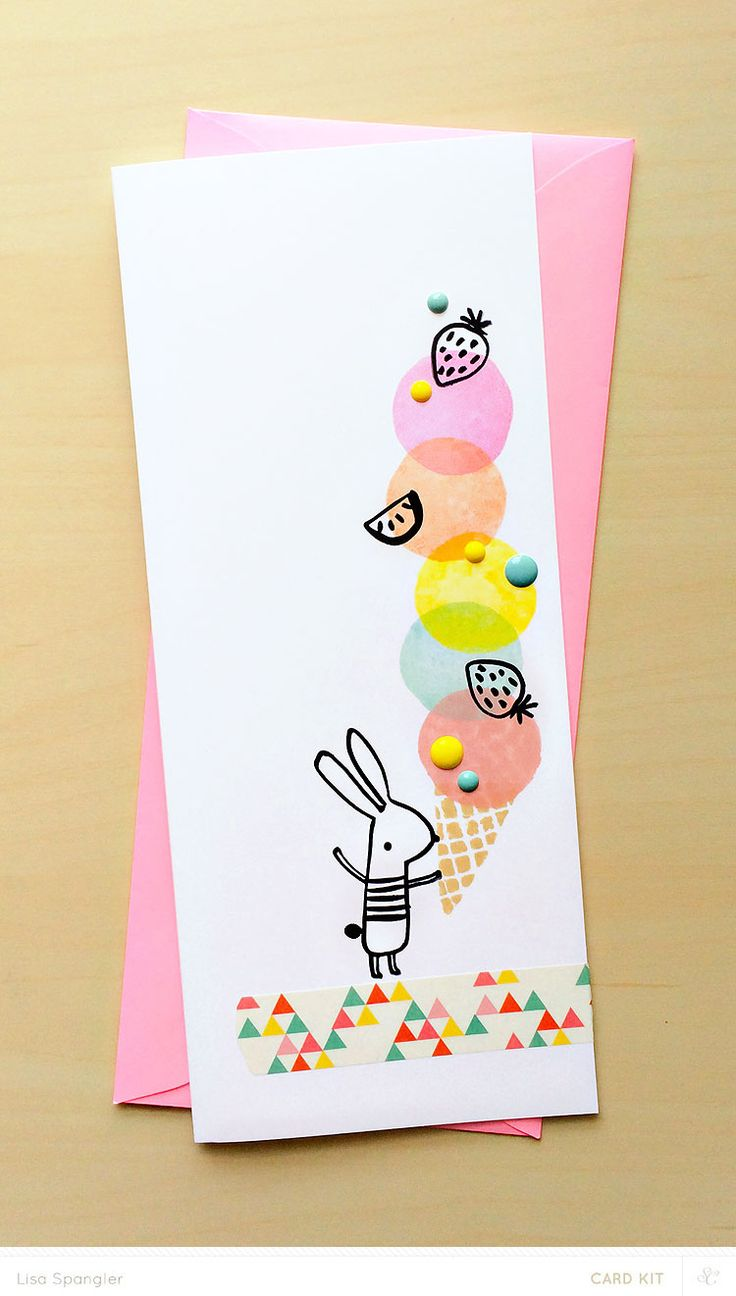 Cream colored cardstock paper studio - Ice Cream Bunny By Lisa Spangler For Studio Calico