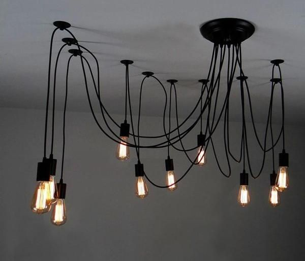 The Warmly Spider Chandelier Rustic Ceiling Lights Diy Light Bulb Swag Pendant Light