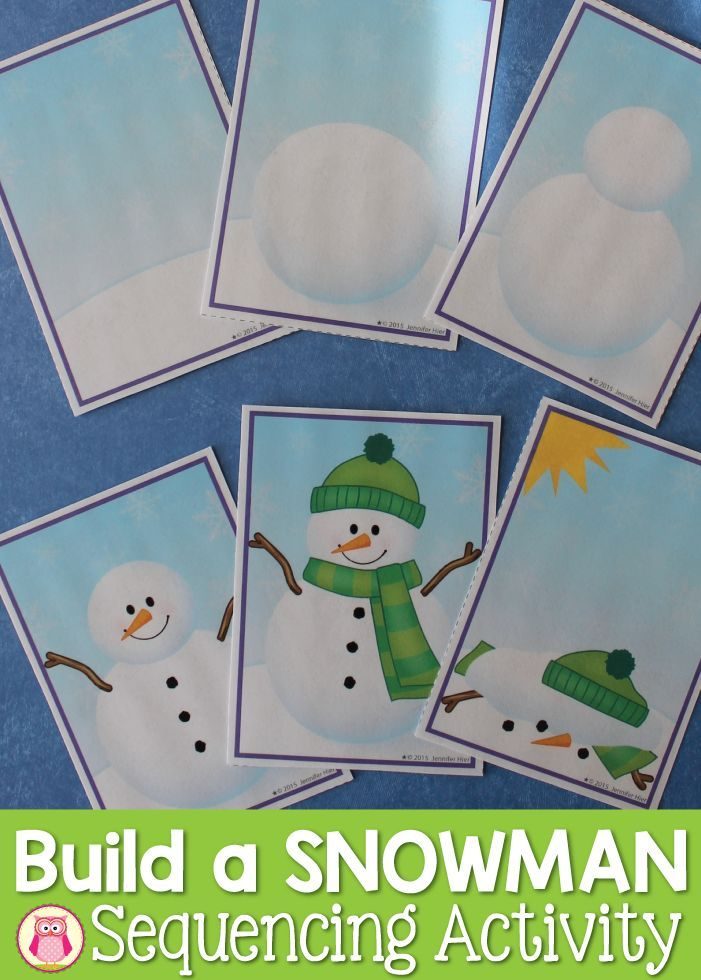 A snowman sequencing activity for your winter themed centers. 4,5, or 6 step sequencing cards can be used on printable sorting mats. Kids will enjoy telling a story about how to build a snowman.....can also be used in a writing center or in a pocket chart.