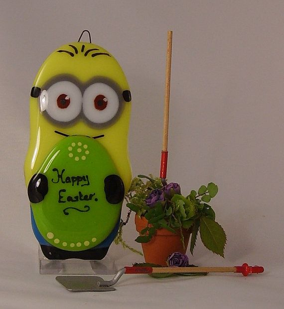 Eggbert Fused Glass Minion Hanging Ornament by theartmachine1, £20.00