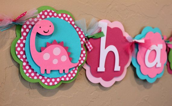 Dinosaur Hot Pink Light Pink Turquoise Lime Green Polka Dot Dino Happy Birthday Banner Girl Party Decoration Girlie Baby Shower on Etsy, $36.50