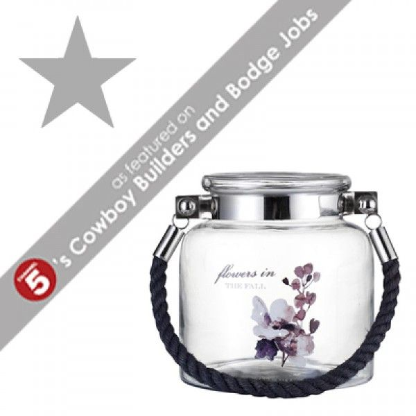 ADRINA Purple Floral Glass Lantern *CURRENTLY OUT OF STOCK* *AS FEATURED ON CHANNEL 5's COWBOY BUILDERS & BODGE JOBS*