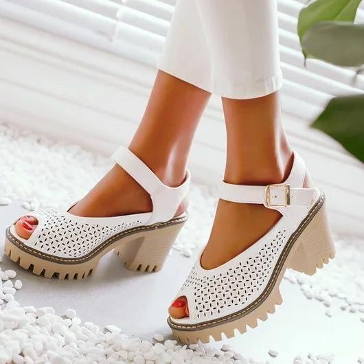 80fba76a55d Dekorhea Peep Toe Platform Buckle Daily Chunky Sandals