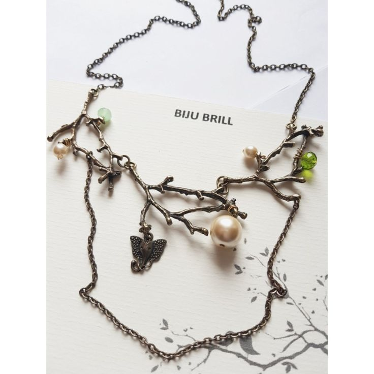 Twig Necklace, Branch Necklace, Pearl Necklace, Nature Jewelry, Woodland, Forest Jewelry, Pearl Necklace,Rustic, Everyday Jewellery